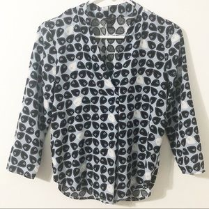 Ann Taylor Career Wear Leaf Motif Blouse